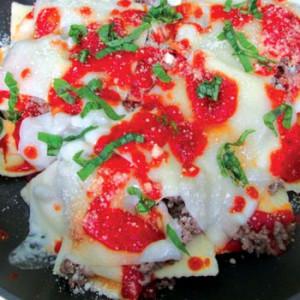 Skillet Ravioli Parmesan