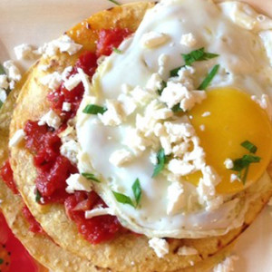 Stacked Tostada Arrabbiata with Fried Eggs
