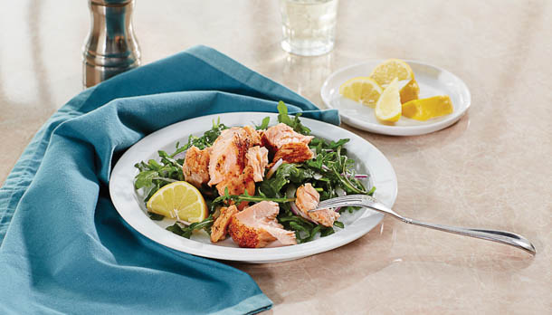 Sunny's Grilled BBQ Salmon and Quick Arugula Salad